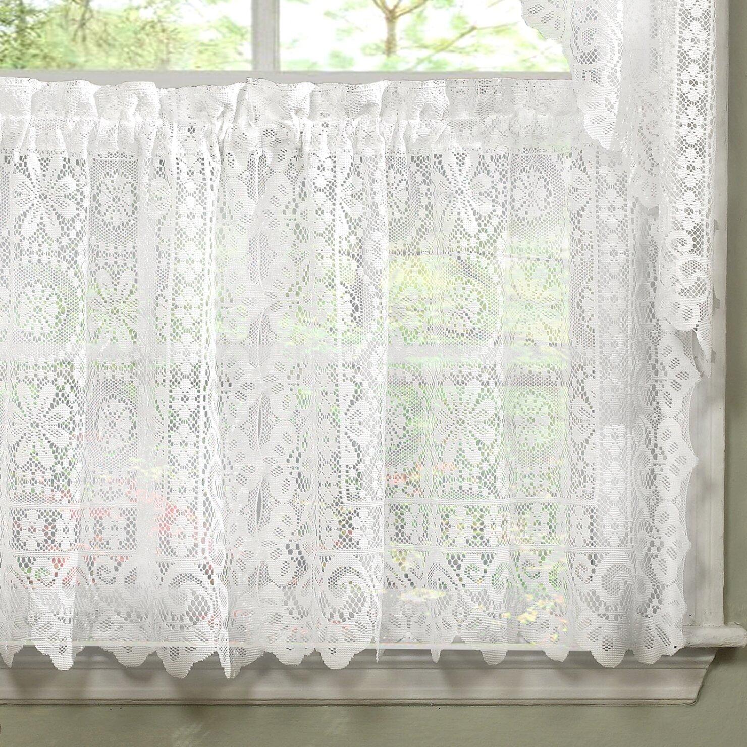 August Grove Bansal Floral Heavy Lace Cafe Curtain Reviews Wayfair Ca