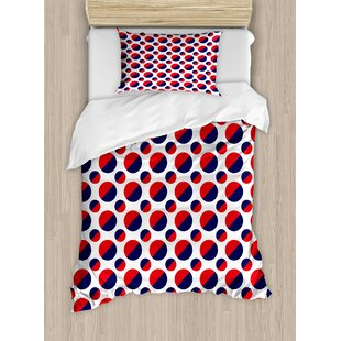 Geometric Abstract Figures with Half Circles Rounds Artwork Image Duvet Set by Ambesonne