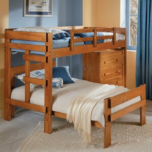 Twin Over Twin L Shaped Bunk Bed With 4 Drawer Chest
