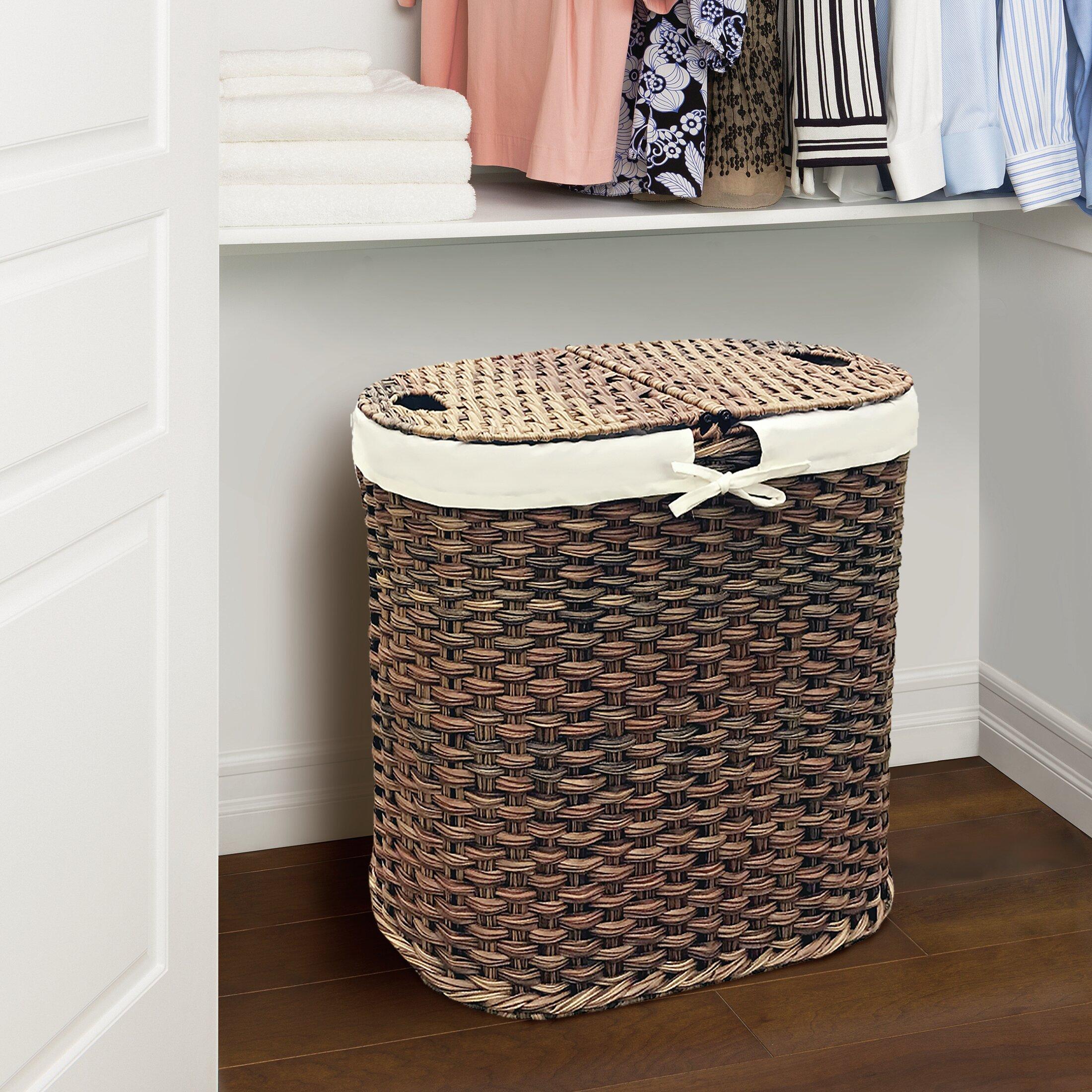 Gracie oaks wicker oval double laundry hamper reviews wayfair