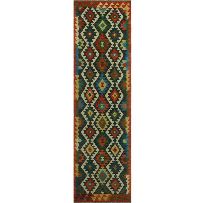 Foundry Select Runner Hults Southwestern Handmade Kilim Wool Red Green Area Rug Wayfair