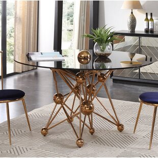 Elston Glass and Rosegold Round Dining Table