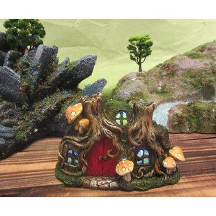 Fairy Garden Tree Root House with Door and Mushrooms Statue by Hi-Line Gift Ltd.