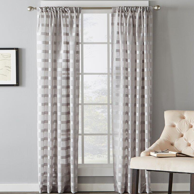 Charlton Home Knap Striped Sheer Rod Pocket Single Curtain Panel Reviews Wayfair