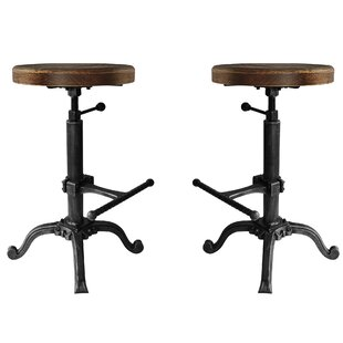 Hoggard Backless Adjustable Height Swivel  Bar Stool - set of 2 (Set of 2) by Williston Forge