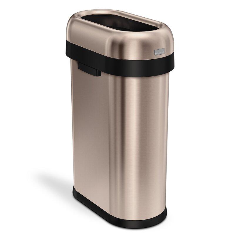simplehuman Steel 13 21 Gallon Open Top Trash Can & Reviews