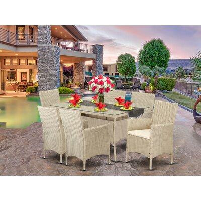 Smithers Patio 7 Piece Dining Set with Cushions Brayden Studio® -  71C4305FD5D948A3A09CF6DE73BF7C0C
