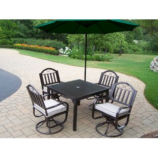Lisabeth 5 Piece Swivel Dining Set with Cushions and Umbrella