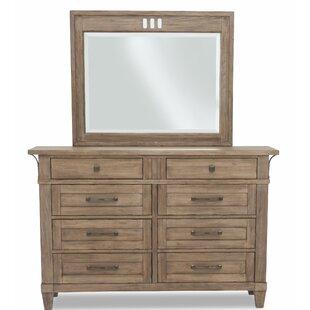 Gracie Oaks Ariel 8 Drawers Double Dressor with Mirror