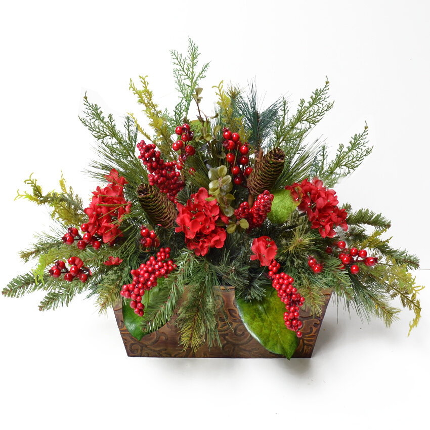 floral home decor pine and berry christmas floral arrangement reviews wayfair