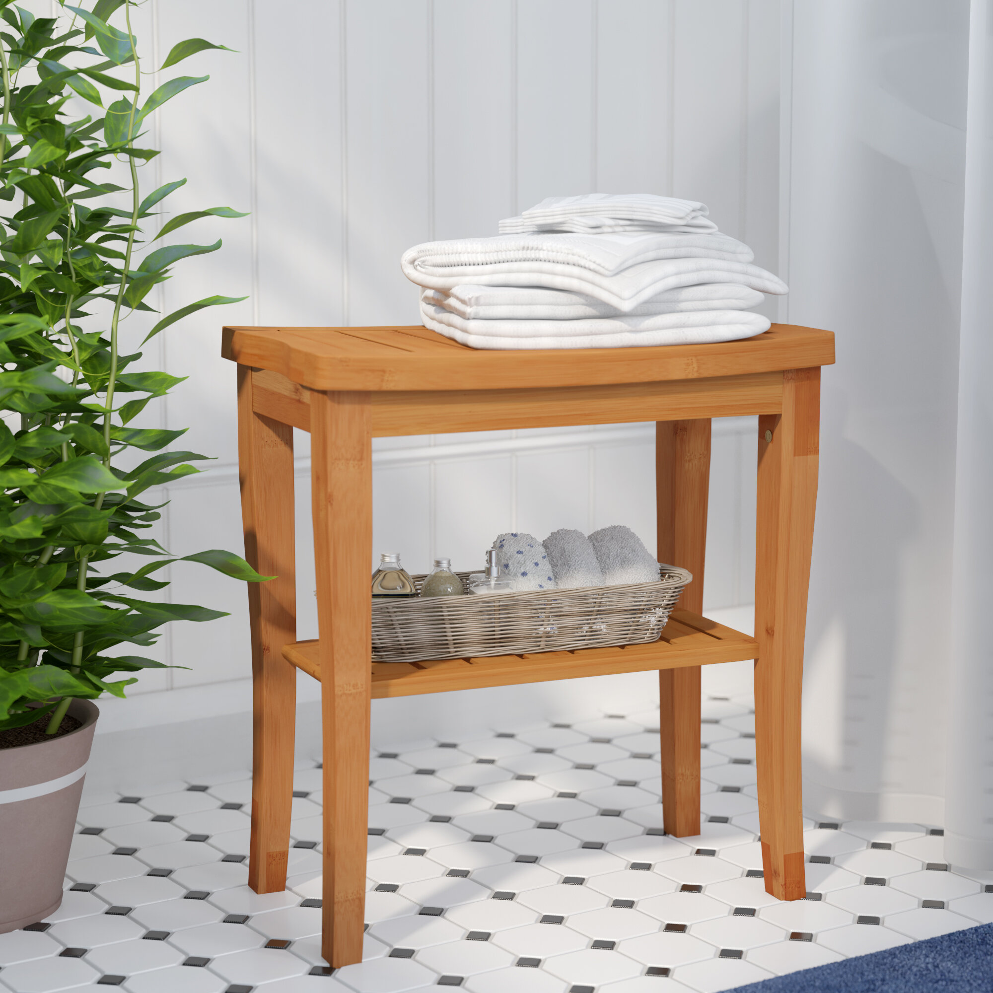 Lavish Home Shower Bench-Water Resistant Natural Bamboo with Storage Shelf for Bathroom Spa or Sauna
