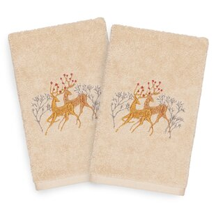 Beam Deer Pair Embroidered Luxury 100% Turkish Cotton Hand Towel (Set of 2)