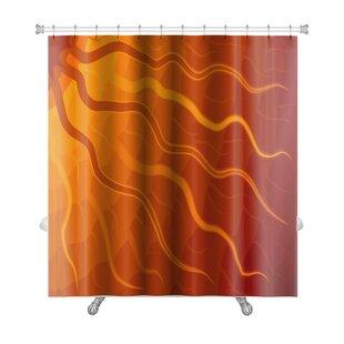 Bravo Abstract of Sun with Wavy Rays Tone Premium Single Shower Curtain