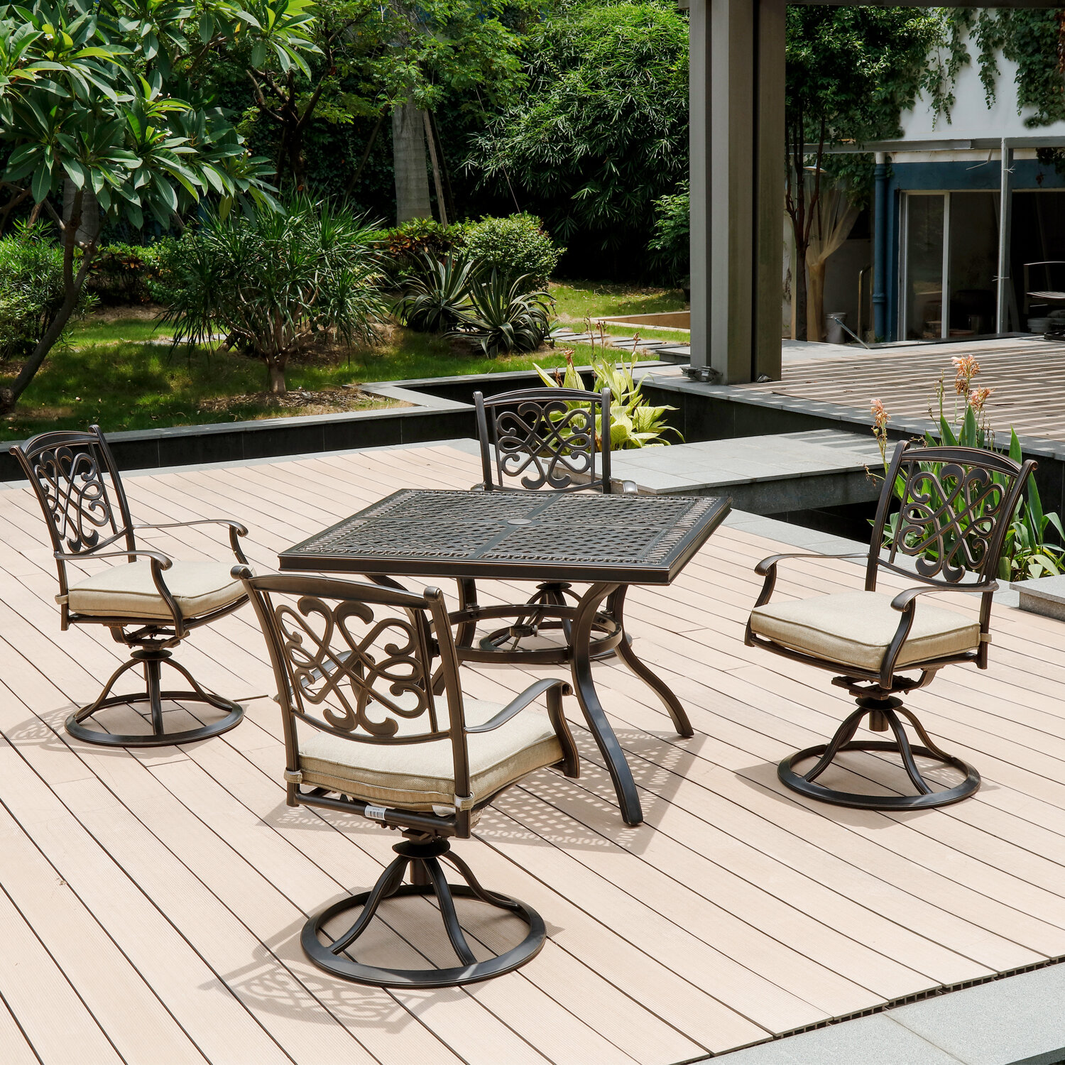 10 Piece Outdoor Dining Set Patio Furniture, Deep Cushioned Aluminum Swivel  Rocker Chair Set With Umbrella Hole Dining Table For Garden, Pool, Lawn,