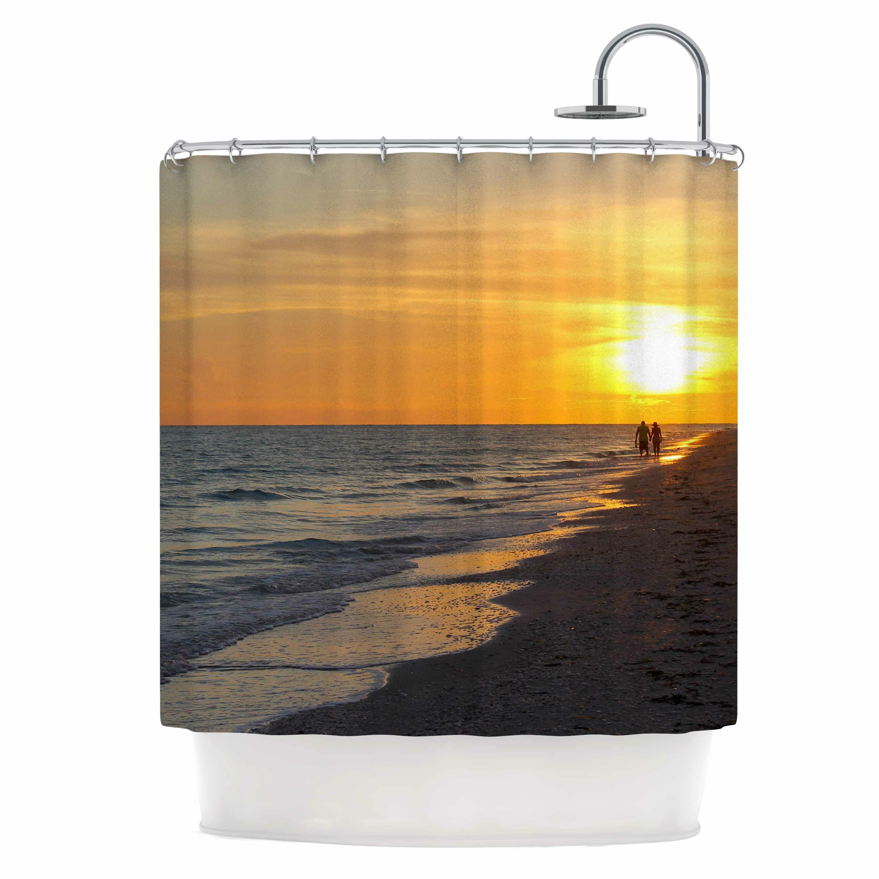 Home Garden Sunset Beach Seaside Palm Trees Shower Curtain