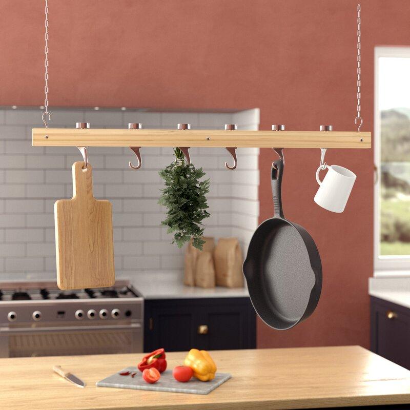 Red Barrel Studio® Ceiling Mounted Wooden Hanging Pot Rack ...