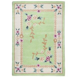 Harmony Handwoven Wool Green Rug by Theko