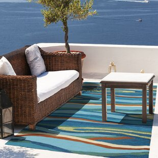 Ocean Waves Handmade Blue Indoor/Outdoor Area Rug