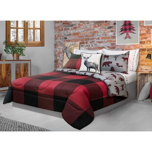 Spradling Printed Plaid Reversible Comforter Set