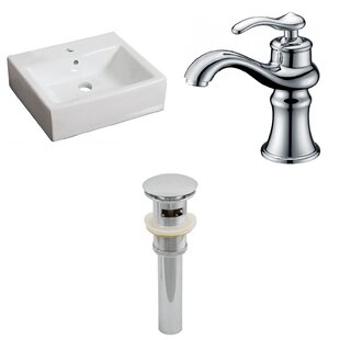 Order Ceramic 17 Wall Mount Bathroom Sink with Faucet and Overflow ByAmerican Imaginations