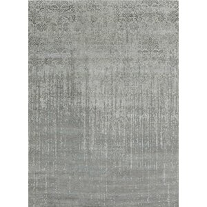 Transitional Hand-Knotted Silver Area Rug