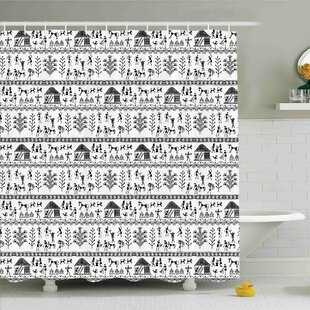 Traditional House Ancient Warli Art with Tribal Native American Icon in Rural Folk Shower Curtain Set