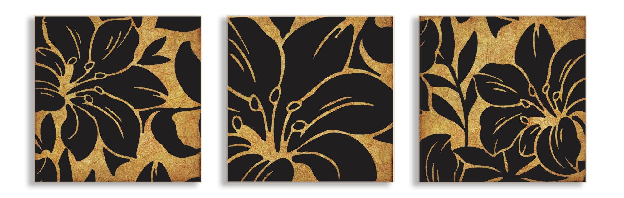 3 Piece Canvas Wall Art Sets stupell industries floral print 3 piece canvas wall art set | wayfair