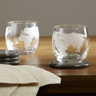 Etched Globe Whiskey Glass (Set of 2)