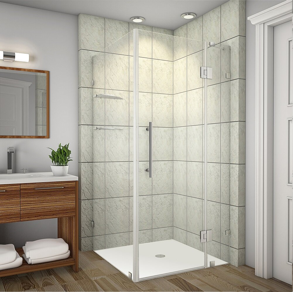 Aston Avalux Gs 37 X 72 Hinged Semi Frameless Shower Door Wayfair