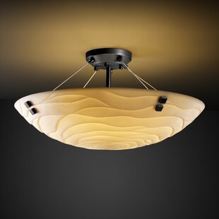 Bloomsbury Market Nyle 3 Light Semi Flush Mount with Concentric Circles Finial