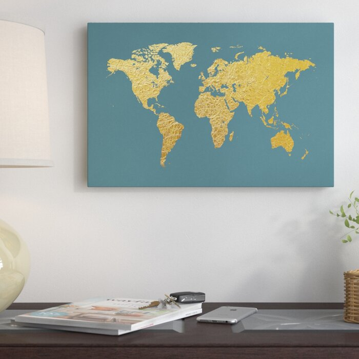 East urban home world map series gold foil on ocean blue graphic world map series gold foil on ocean blue graphic art on wrapped canvas gumiabroncs Choice Image