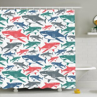 Sea Animal Mix of Colorful Bull Shark Family Masters of Survival Kids Nursery Shower Curtain Set