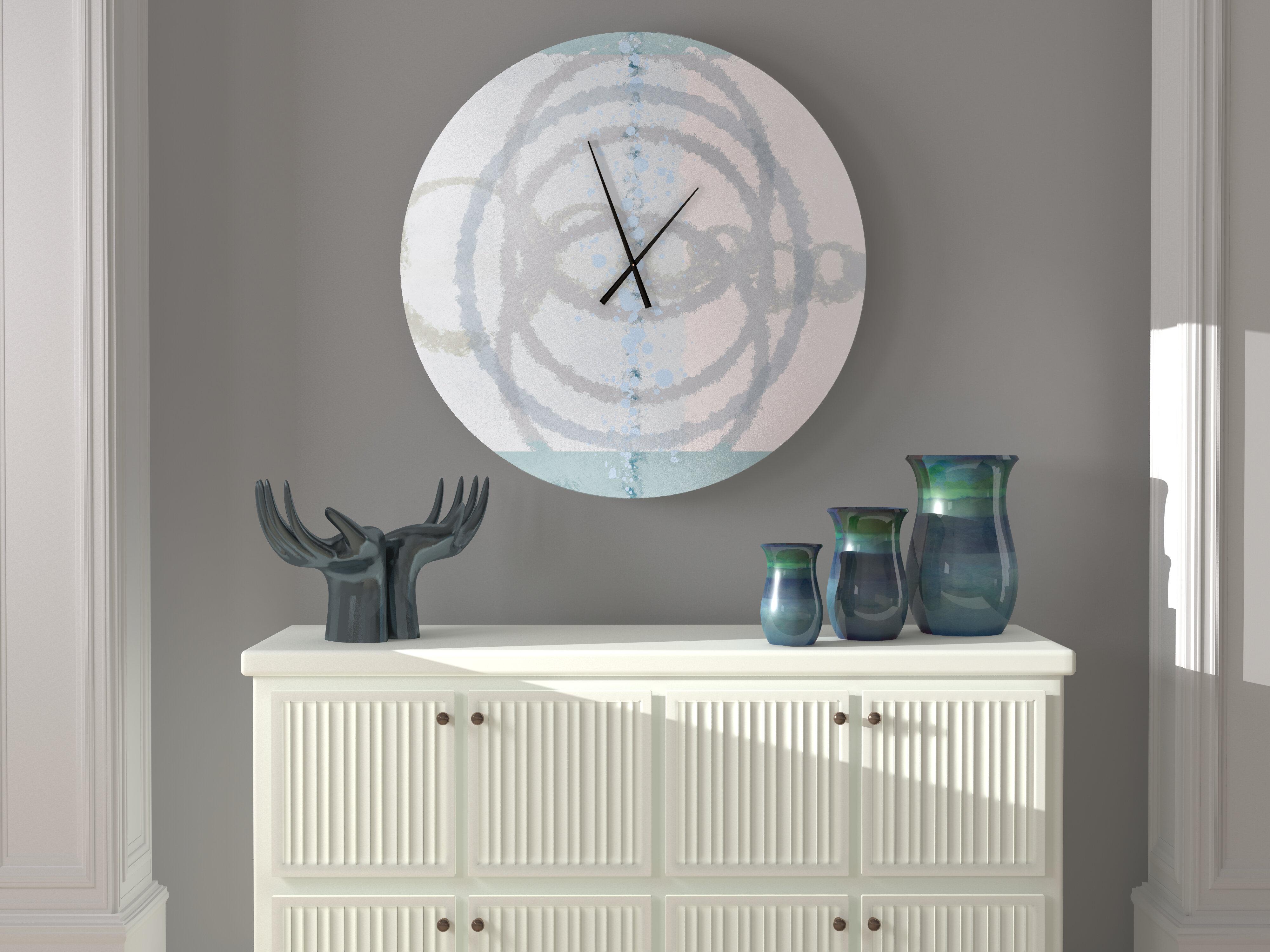 Ebern Designs Present Comely Abstract Metal Wall Clock Wayfair