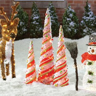 3 piece cone christmas decoration set