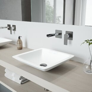 Begonia Stone Square Vessel Bathroom Sink with Faucet VIGO