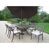 Mcgrady 7 Piece Dining Set with Cushions and Umbrella