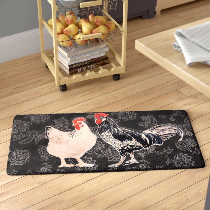 Kitchen Table Linens Rooster Elegant Anti Slip Rubber Backing Standing Designs Rug Floor Mat 28 X 18 Home Textiles