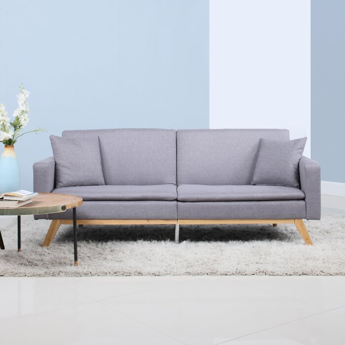 Modern Tufted Linen Splitback Recliner Sofa