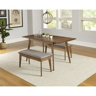 Rockaway 3 Piece Extendable Solid Wood Dining Set