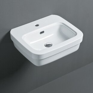 Bissonnet Leavitt Ceramic Rectangular Vessel Bathroom Sink with Overflow