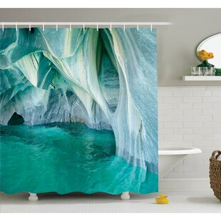 Marble Caves at European Mediterranean Lake Geologic Eroded Art Photo Shower Curtain Set by East Urban Home