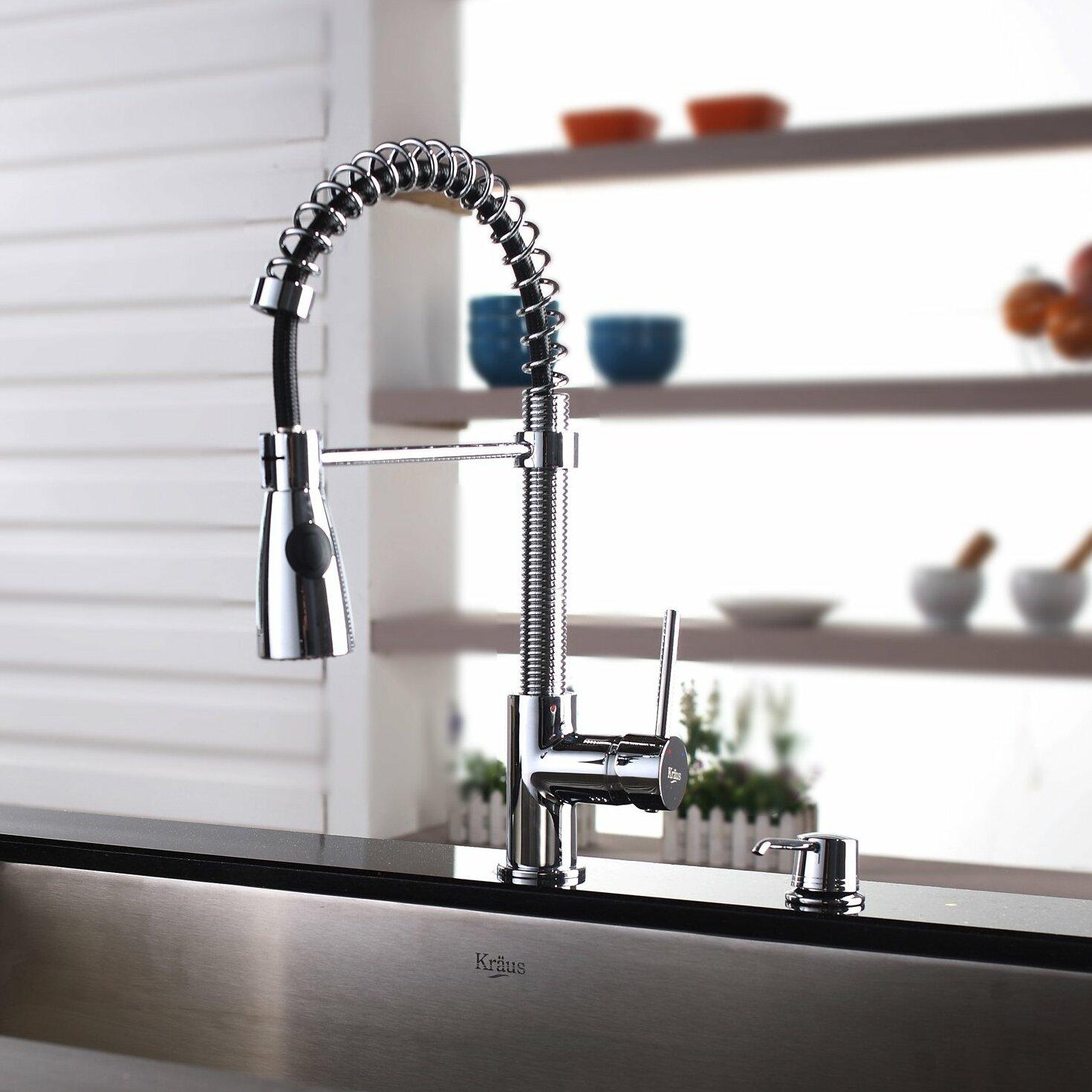 Kpf 1612 Ksd 30ch Ss Kraus Kichen Faucet Combos Single Handle Kitchen Faucet Reviews Wayfair