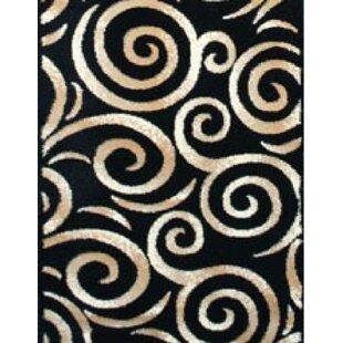 Swirl Oriental Black Area Rug Persian-rugs