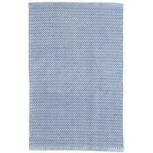 Herringbone Denim Blue Indoor/Outdoor Area Rug
