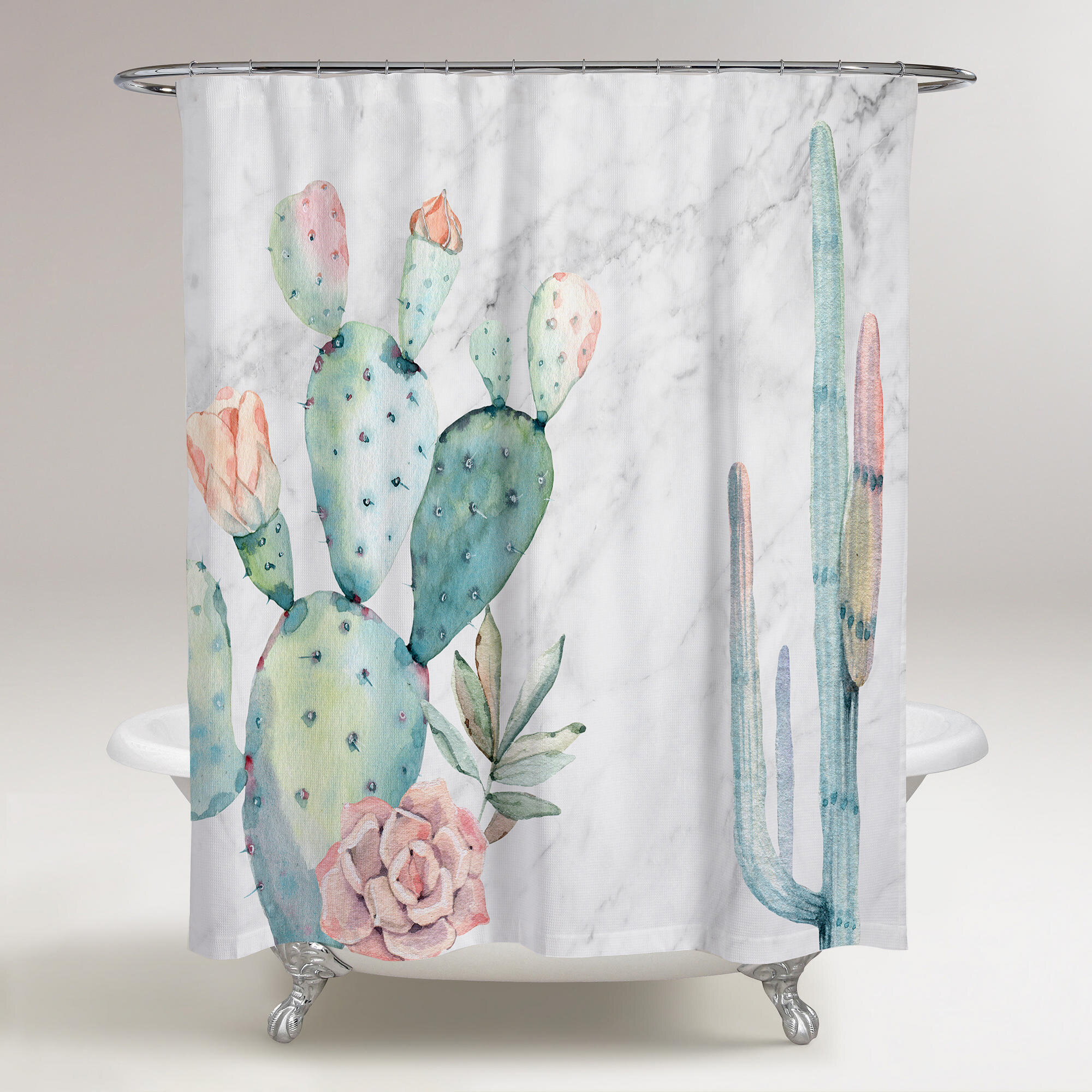 Bungalow Rose Rosen Marble And Succulents Shower Curtain Wayfair