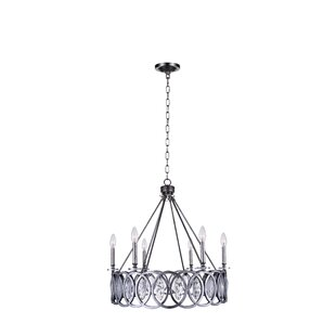 CWI Lighting Attis 6-Light LED Wagon Wheel Chandelier
