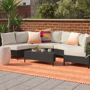 Dowd 5 Piece Rattan Sectional Seating Group with Cushions