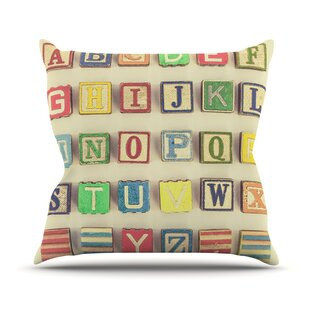 Vintage ABC's Outdoor Throw Pillow by East Urban Home