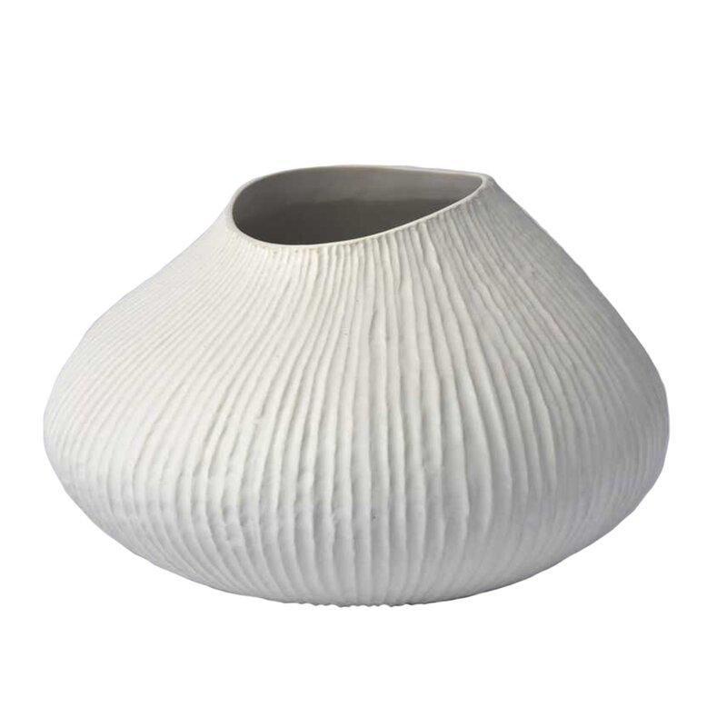 orren ellis park row ceramic ribbed box table vase reviews wayfair