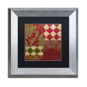 'Merry Christmas Patchwork II' Framed Graphic Art